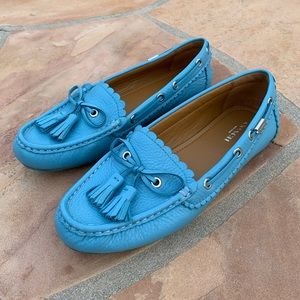Coach Olympia Pebbled Leather Tassel Loafers